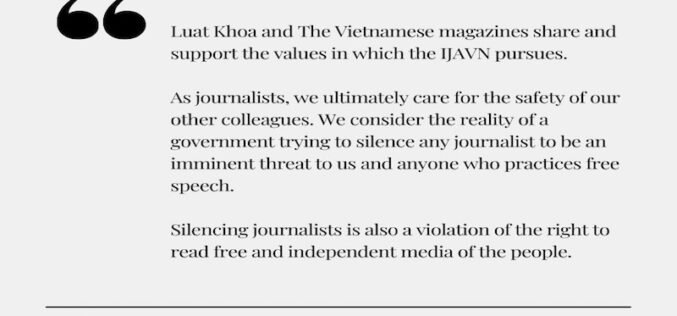 Luat Khoa and The Vietnamese's Press Release on the Indictment of Three Members of The Independent Journalists Association of Vietnam (IJAVN)'s
